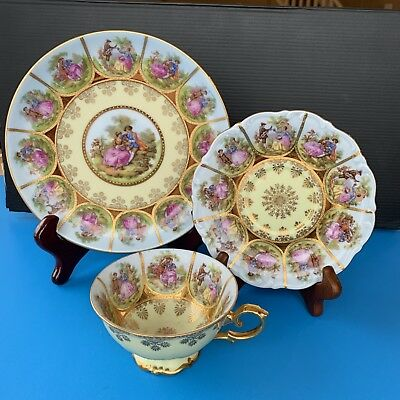 Vintage Love Story Tea Cup Saucer And Plate Trio Nc Germany Gold Hand Painted