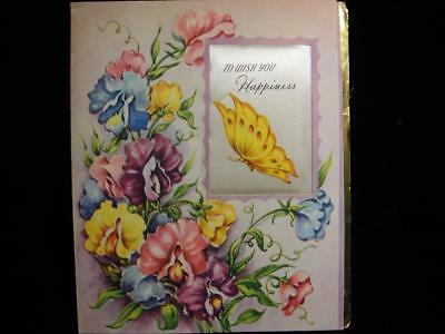 "Vintage ""to Wish You Happiness - Material Picture!!"" Birthday Greeting Card"