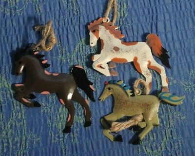 3 Metal Painted Pony Horse Christmas Ornaments
