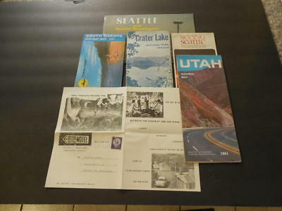 4 Vintage Maps, Seattle Tourist Book, Hill Have Motel Ad 1950s          ID:26688