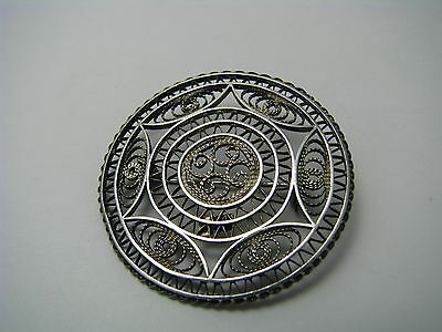 A STERLING SILVER BROOCH PIN FILIGREE BROOCH Middle East Holy Land Israel c1960s