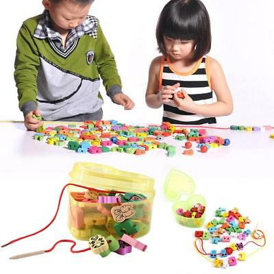 60 Pcs Kids Wooden String Toy Lacing Threading Beads Puzzle Education Toys Gifts