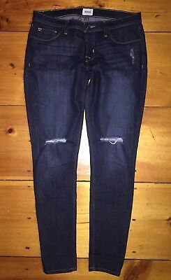 cfb29431fdb HUDSON Krista Super Skinny Ankle Jeans Womens Dark Wash Distressed Sz 29 /8  EUC
