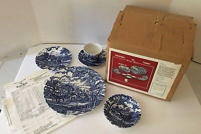 Vintage 20 PIECE SET MYOTT BLUE ROYAL MAIL CHINA STAFFORDSHIRE ENGLAND