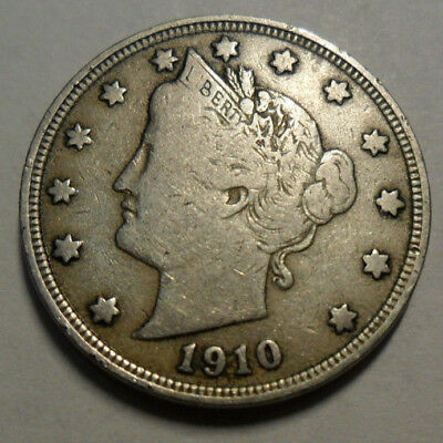 "1910 P Liberty Head ""v"" Nickel  *vf - Very Fine*  **free Shipping**"