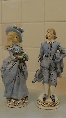 """1920' Pair of Antique German Pottery Figurines Stamped 19935 Germany 9.7""""& 9.2""""T"""