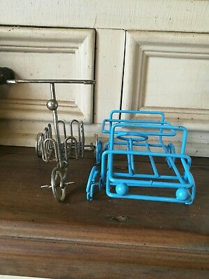 Vintage Salt And Pepper Shakers. Empty car And Bike Shaker Holders.