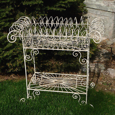 Antique Wire Plant Stand Detailed Design Many Loops Curves Nice Size