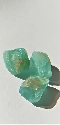 Rough Apatite gemstone 23.85cts 3 pieces Blue Green