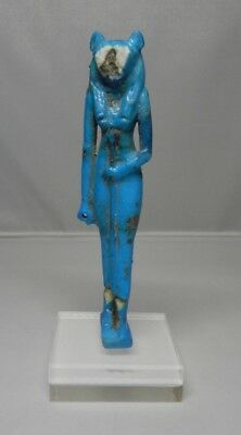 Ancient Egyptian Large Bastet Faience Amulet /statuette Late Period 600 BC , COA