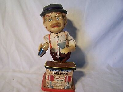 Vintage Toy Tin Battery Operated Charlie Weaver Bartender