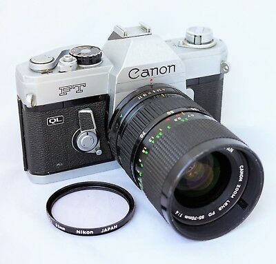 Canon FT QL 35mm SLR Film Camera with Canon FD 35-70mm Zoom Lens Meter Works
