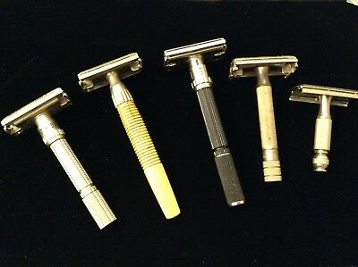 LOT OF 5 VINTAGE GILLETTE DOUBLE EDGE SAFETY RAZORS plus some blades