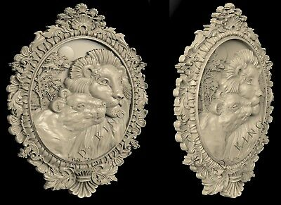 3D STL Model # TWO LIONS IN THE FRAME # for CNC Aspire Artcam 3D Printer 3D MAX