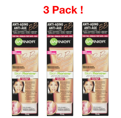 Garnier Skin Renew Miracle Skin Perfector  BB Cream, Medium/Dark 75 ml (3 pack)
