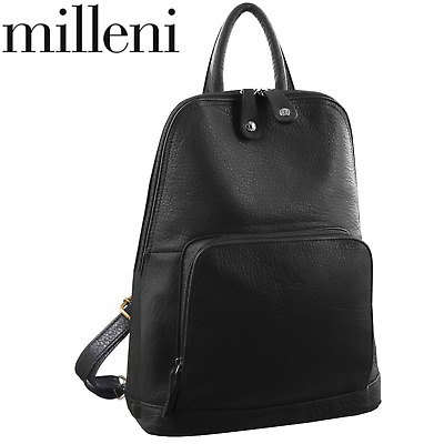 Milleni Genuine Italian Leather Soft Nappa Leather Backpack Rucksack Travel