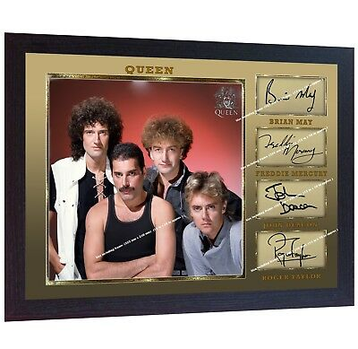 Queen Freddie Mercury Brian May Roger Taylor signed autograph PHOTO print FRAMED