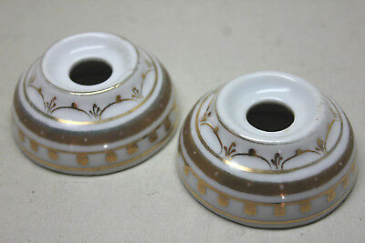 Lot of 2 Original Antique Hand Painted PORCELAIN LIGHT SWITCH Plates