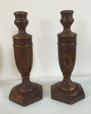 Vintage 1930's Turned Oak Olde England Style Pair of Candlesticks, 30cms Tall