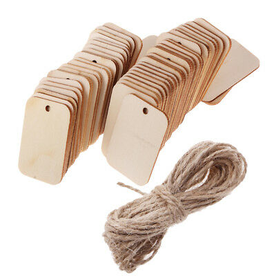 50pcs DIY Wooden Label Unfinished Blank Wood Gift Tags Wedding Party Favours