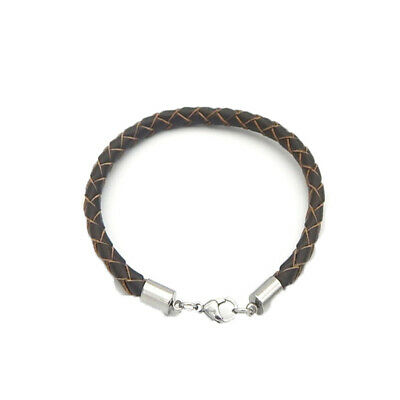 12 Silver Leather Cord Tube End Bracelet Necklace Lobster Clasp DIY Findings