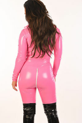 combinaison T36 vinyl rose neuf catsuit shiny zip 2 voies overall uk8 all in one