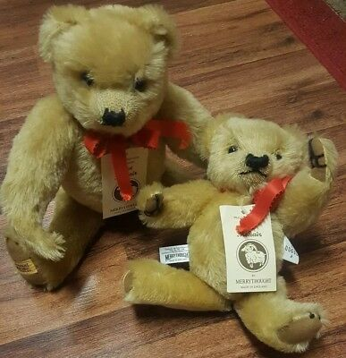 MerryThought Pure Mohair Bear Set of 2• 682 out of 1000 England Vintage
