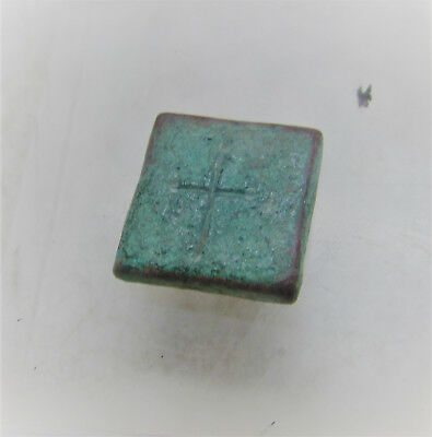 Ancient Byzantine Bronze Religious Square Weight Marked With A Cross & 'n'