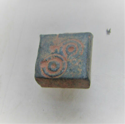 Ancient Byzantine Bronzesquare Weight With Ring And Dot Motifs