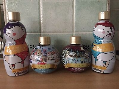 Avon FESTIVE Bubble Bath Body Wash Plum Vanilla Apple Cinnamon Almond Berries x4