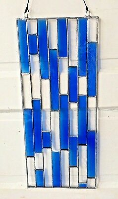 """20"""" x 8"""" Stained Glass Blue & Crystal Panel Sun Catcher - Vintage Blenko Colors"""