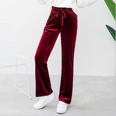 Fashion Women's Casual Velvet Wide Leg Pants Straight Trousers Loose Sports T974