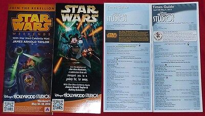 Disney Star Wars Weekends 2013 & 2014 lot of 4 different Guidemap Guide Map (s)