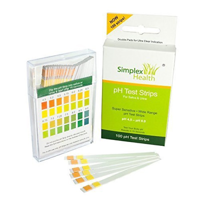SimplexHealth pH Test Strips pH 4.5 - pH 9.0 for Urine and Saliva with Dual Pad