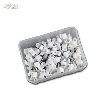 100 Cable Clamps White, for Cable Max Ø4mm , Cable Clamp Nail Clamps Nail Clip
