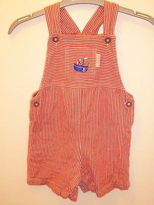 JOJO MAMAN BEBE Baby Boys Red Stripey DESIGNER Dungarees Outfit 12-18 Months VGC