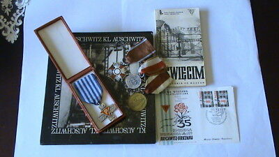 AUSCHWITZ CROSS for SURVIVORS+COMBATANT MEDALS and BOOK SET- BARGAIN !!