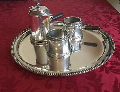 Italian solid silver, .800 three piece coffee set and salver