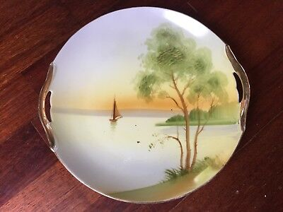 """Vintage Nippon Hand Painted Sailboat Sunset 9 3/4"""" Porcelain Plate With Handles"""