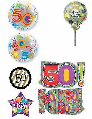 Happy 50th Birthday Foil Balloons Party Ware Decoration Age50 Anniversary Helium