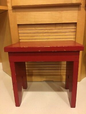 """Antique Home Made Red Wood Stool Approx.11 1/2"""" Tall - 11  3/4"""" x 7  11/16"""" Seat"""