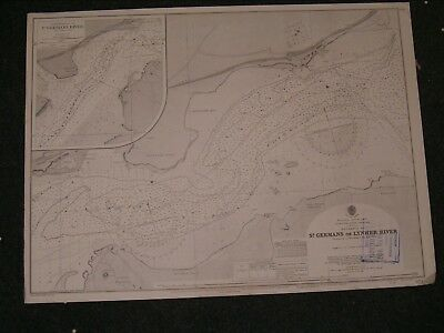 Vintage Admiralty Chart 973 UK - PLYMOUTH SOUND - HAMOAZE 1925 edition