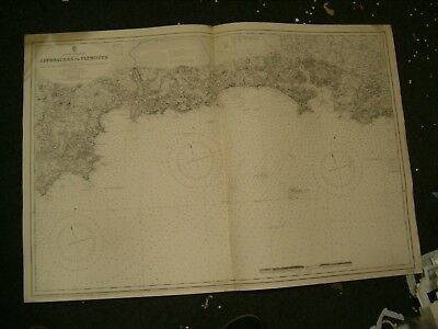 Vintage Admiralty Chart 1267 UK - APPROACHES TO PLYMOUTH 1911 edition