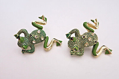 Pair of Vintage Green Enamel Frog Pin Rhinestone Gold Legs Move Motion