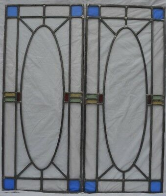 2 RESTORED art deco leaded light stained glass window panels. R739a. DELIVERY!!!