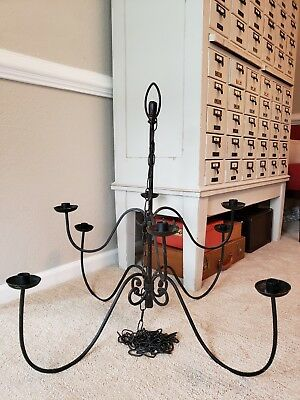 Forged Black Wrought Iron 8 Arm Candle Chandelier Farmhouse Shabby  light
