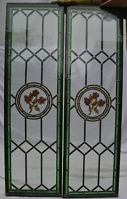 2 painted leaded light stained glass window panels R838.