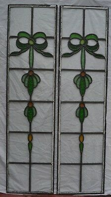 2 British stained glass leaded light window panels. R862a. DELIVERY!