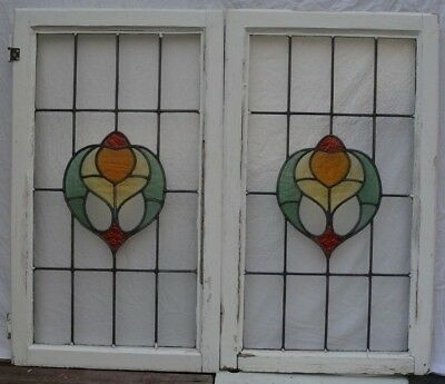 2 British stained glass leaded light window panels. R865b