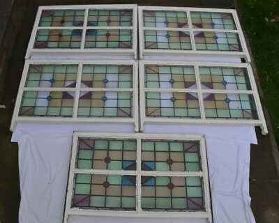 5 art deco leaded light stained glass window sash R820.